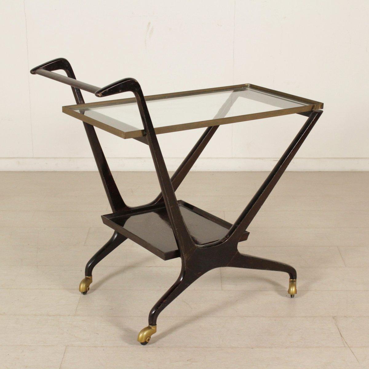 italienischer servierwagen aus glas messing gebeiztem holz 1950er bei pamono kaufen. Black Bedroom Furniture Sets. Home Design Ideas