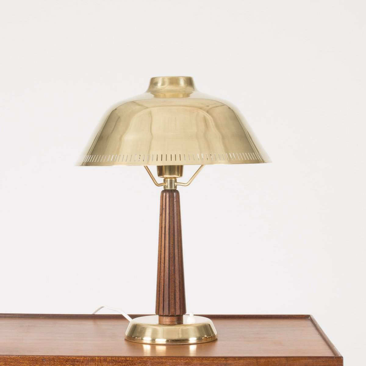 Nice Mid Century Brass And Mahogany Table Lamp By Hans Bergström For ASEA, 1950s