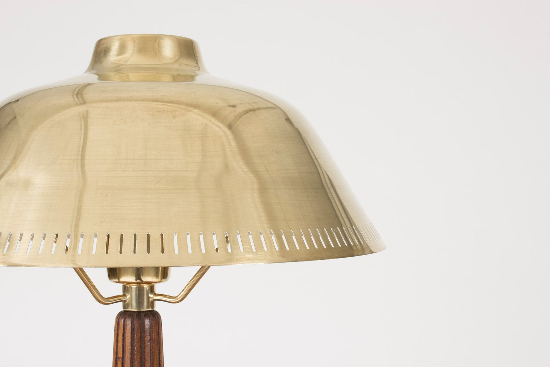 Mid Century Brass And Mahogany Table Lamp By Hans Bergström For ASEA, 1950s