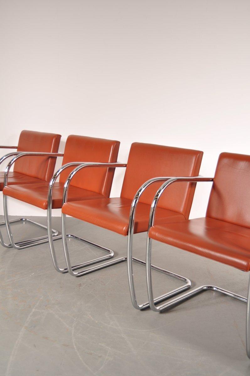 bnro stuhl aus cognacfarbenem leder chrom von ludwig mies van der rohe f r knoll 1970er bei. Black Bedroom Furniture Sets. Home Design Ideas