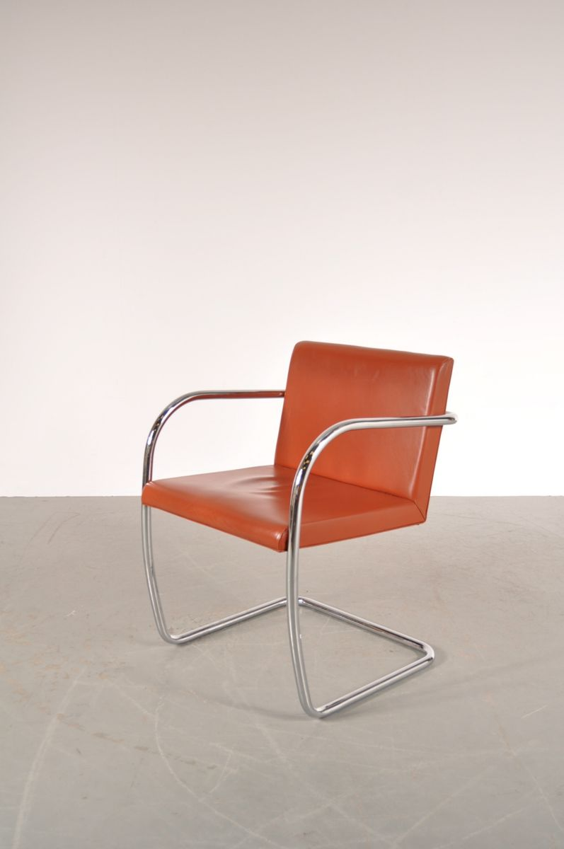 BNRO Chair in Cognac Leather and Chrome by Ludwig Mies van