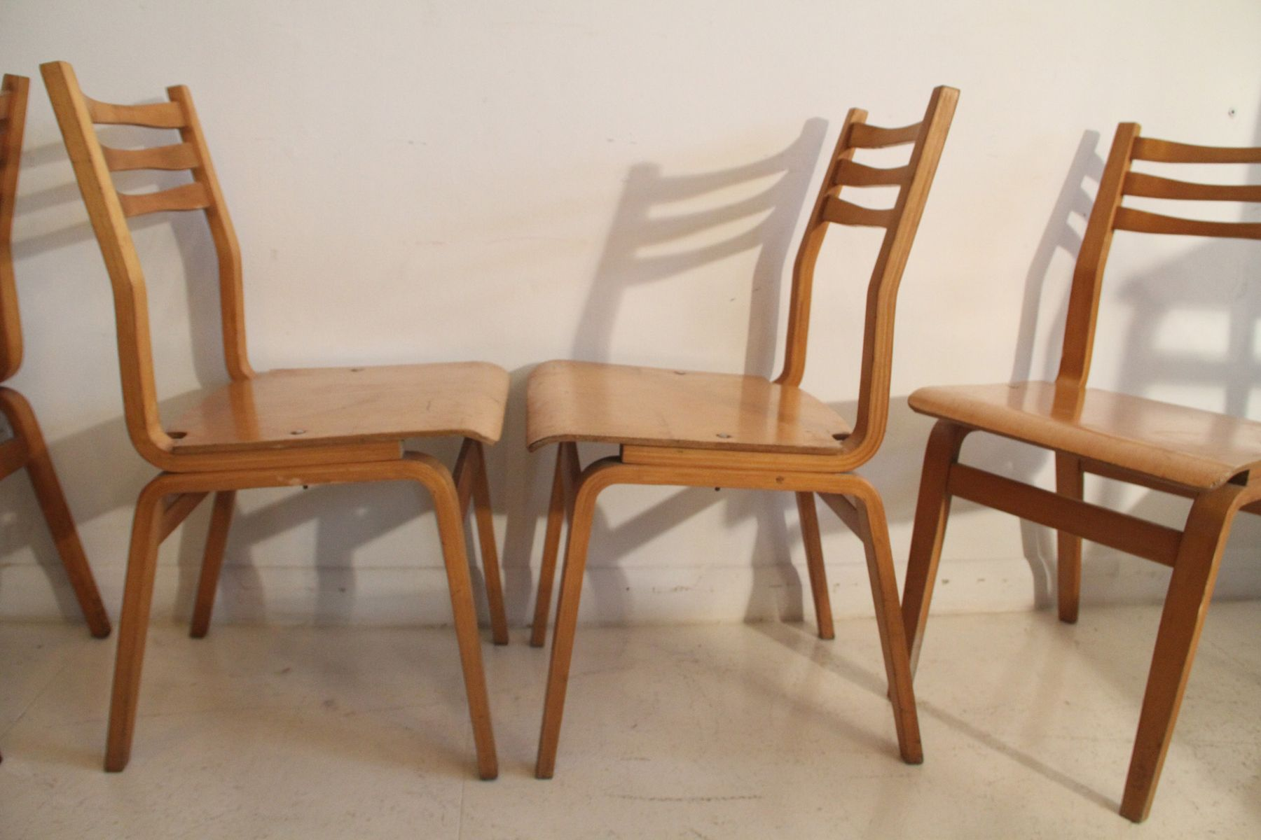 estnische esszimmerst hle aus schichtholz 1960er 6er set. Black Bedroom Furniture Sets. Home Design Ideas