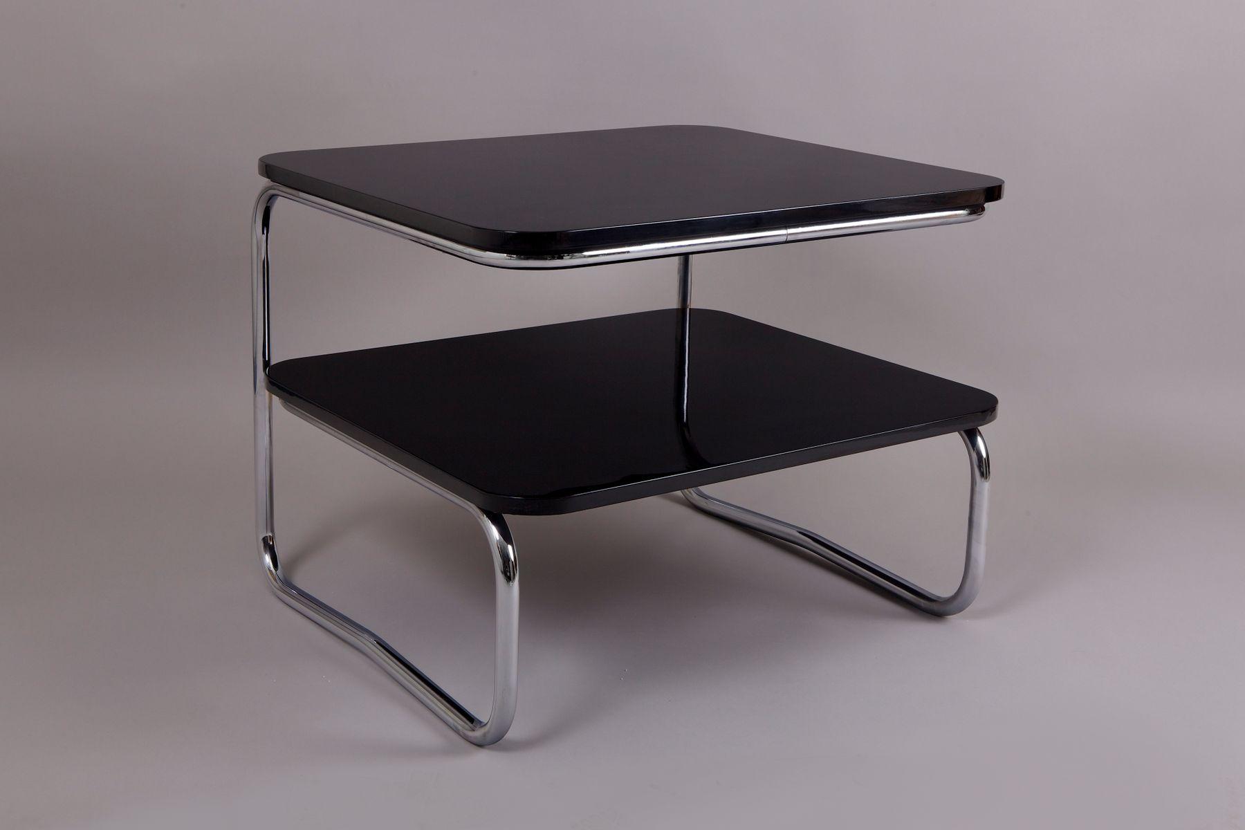 Schwarzer viereckiger vintage b13 chrom tisch von robert for Schwarzer tisch