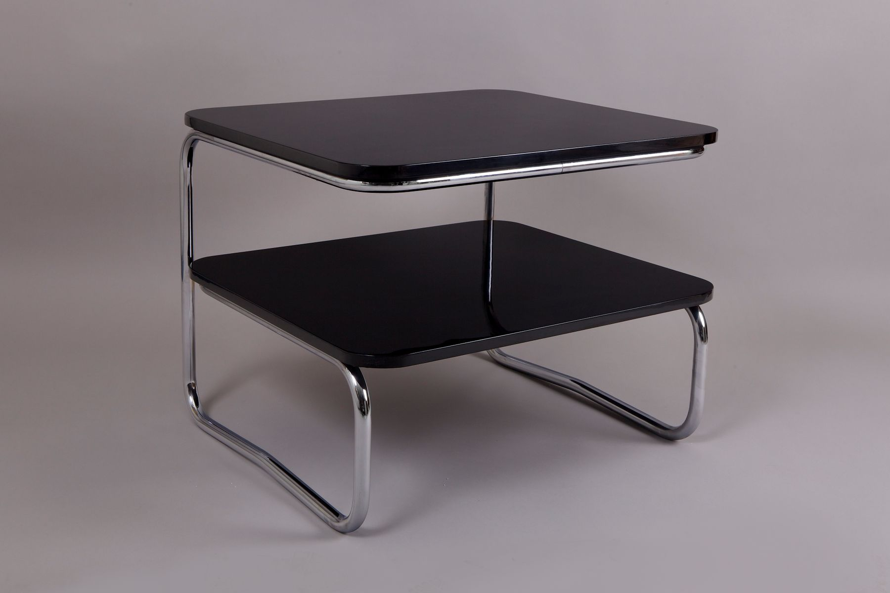 Black Amp Chrome Table ~ Vintage black and chrome square b table from robert