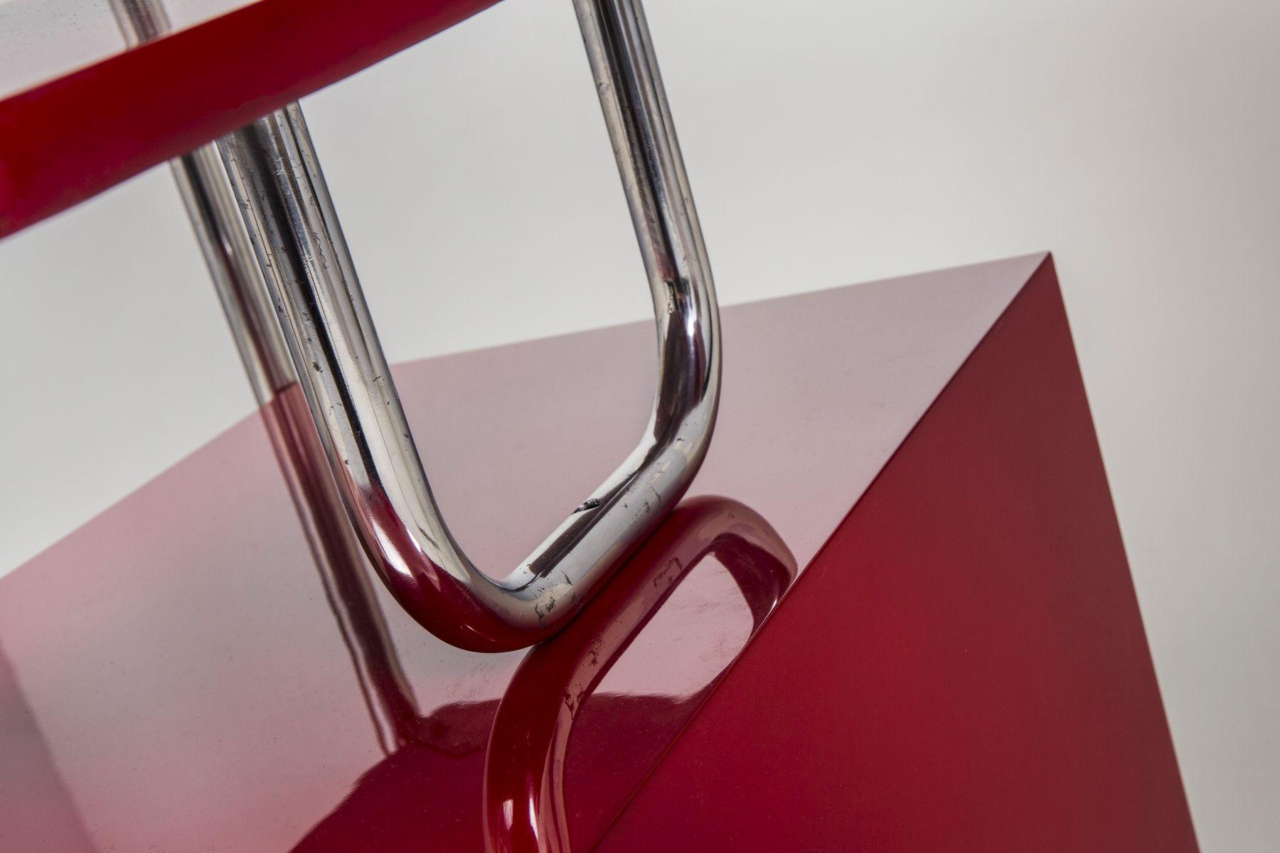 deutscher roter vintage schreibtisch bei pamono kaufen. Black Bedroom Furniture Sets. Home Design Ideas