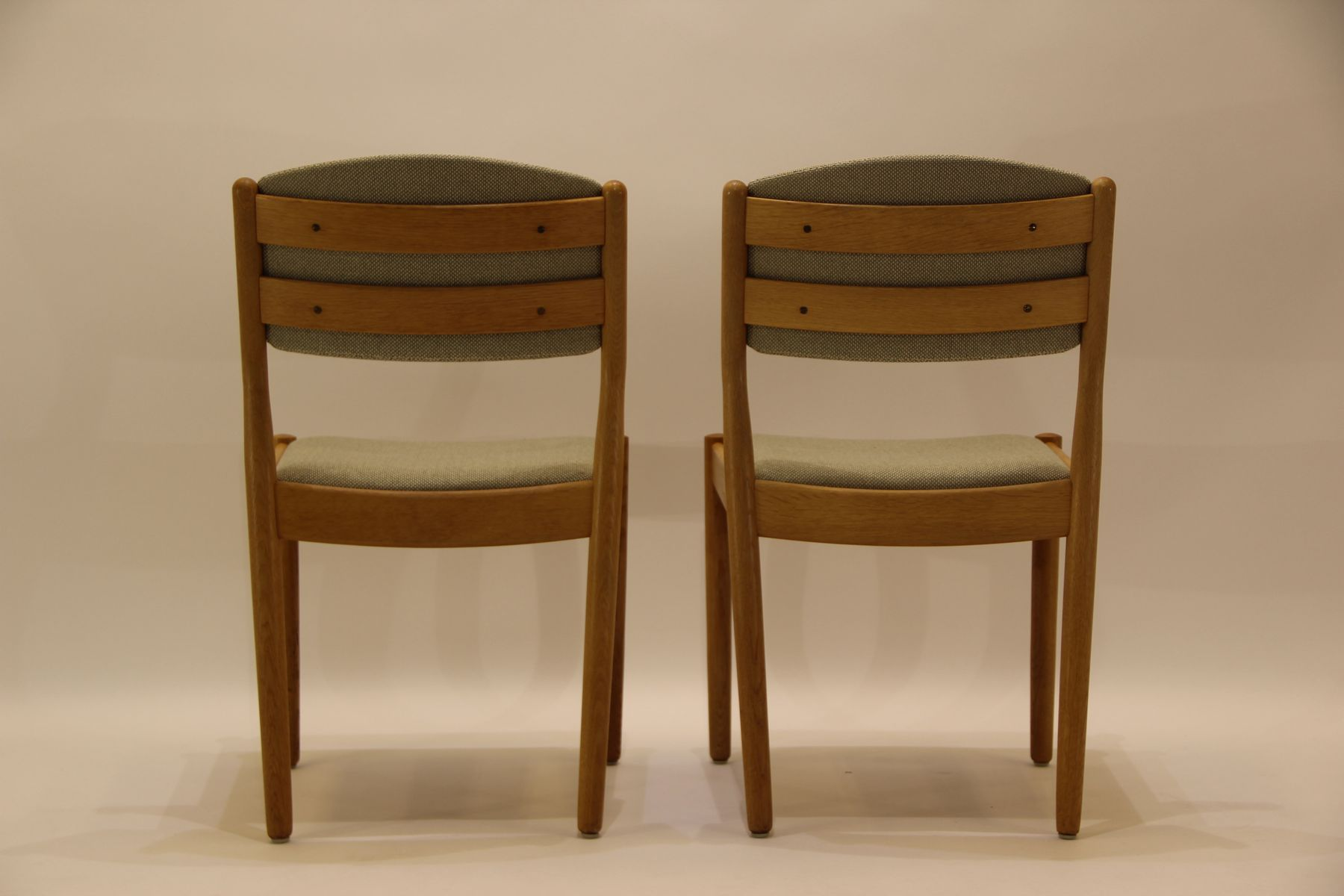 midcentury j oak  green fabric dining chairs by poul m  - price per set
