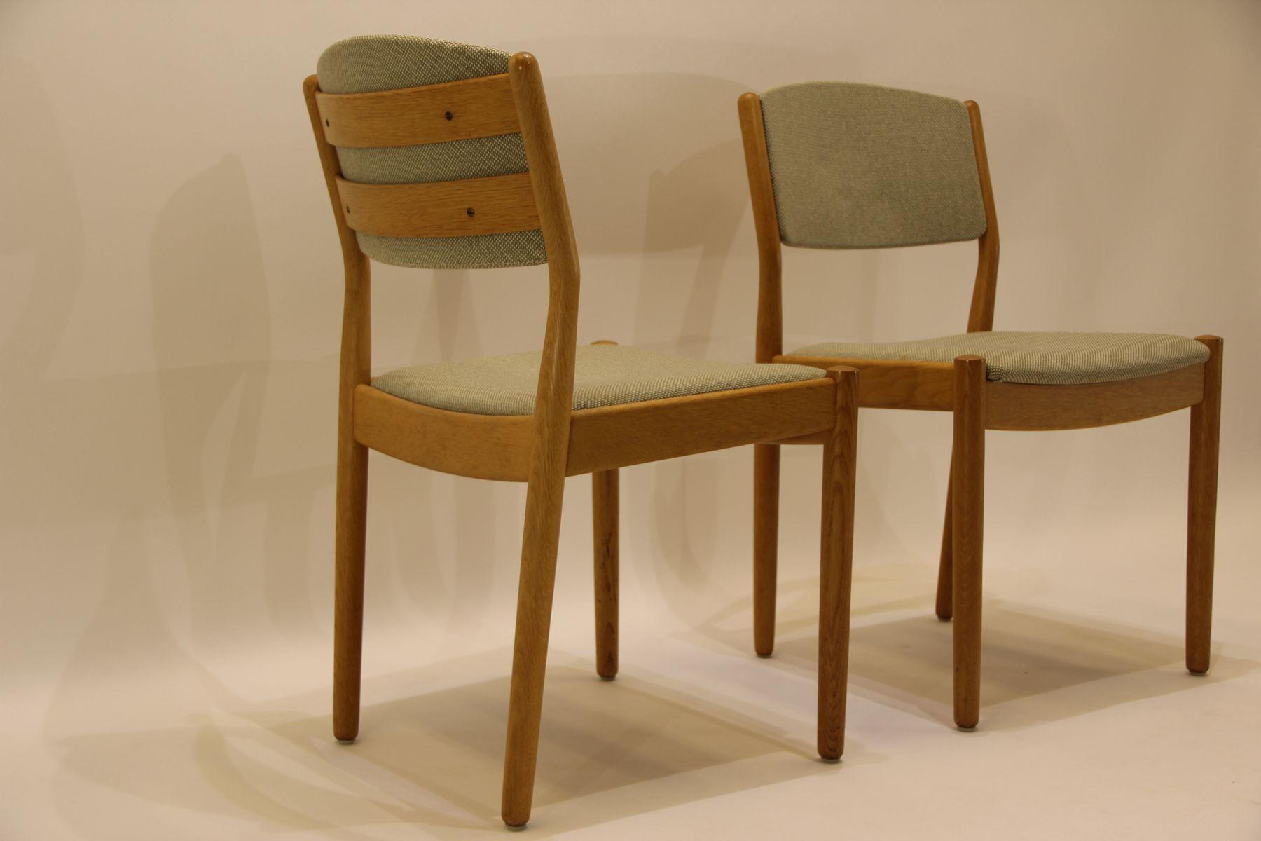 mid century j61 esszimmerst hle aus eiche gr nem stoff. Black Bedroom Furniture Sets. Home Design Ideas