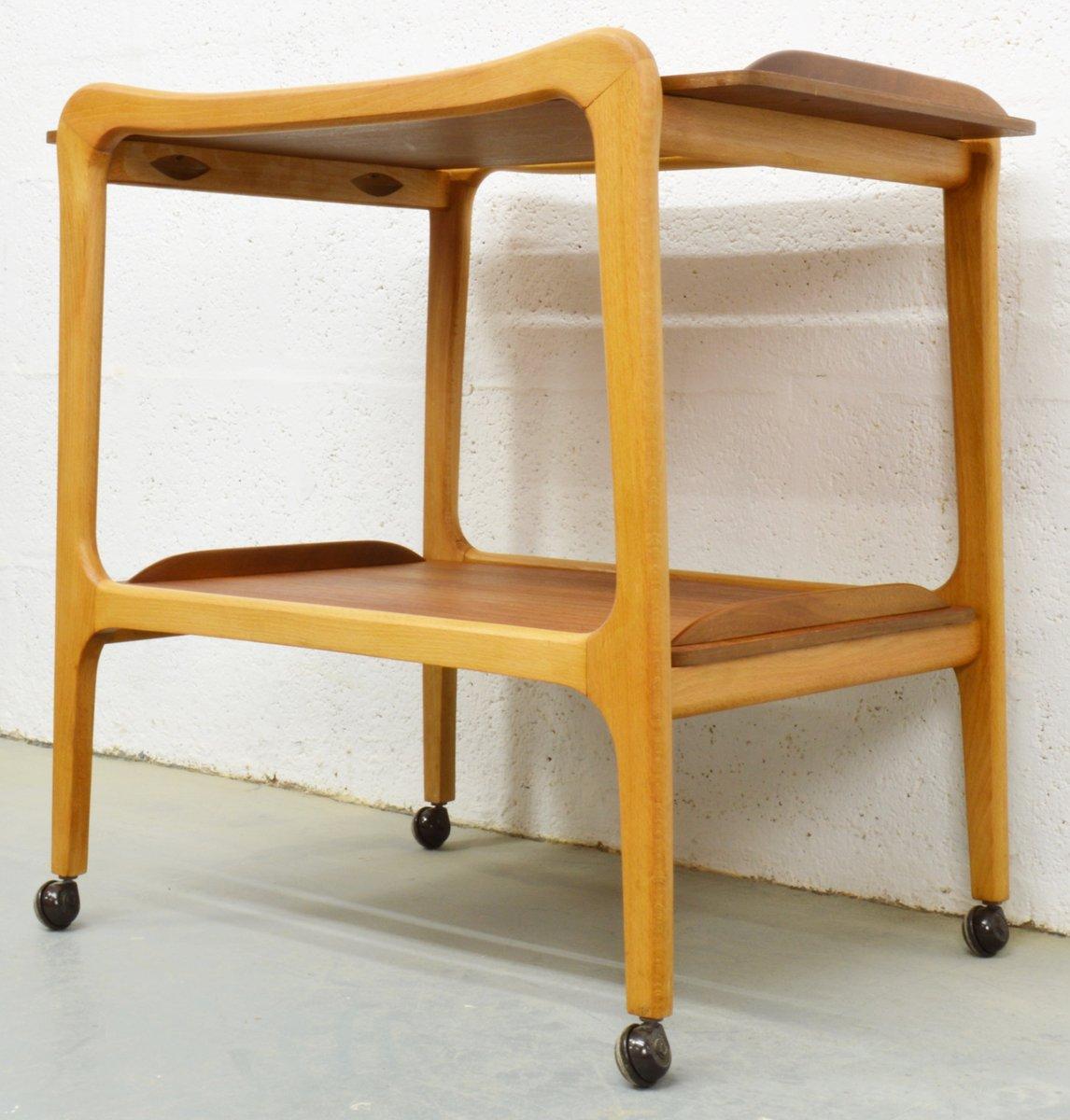 mid century teak und buchenholz servierwagen bei pamono kaufen. Black Bedroom Furniture Sets. Home Design Ideas