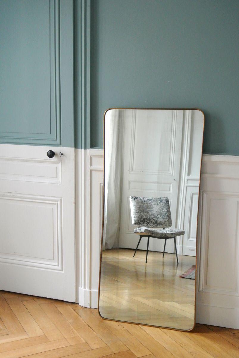 Miroir encadr en laiton organique italie 1950s en vente for Miroir encadre