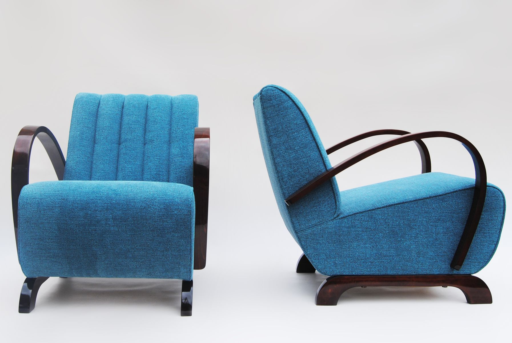 Vintage Blue Armchairs by Jindřich Halabala Set of 2 for sale at