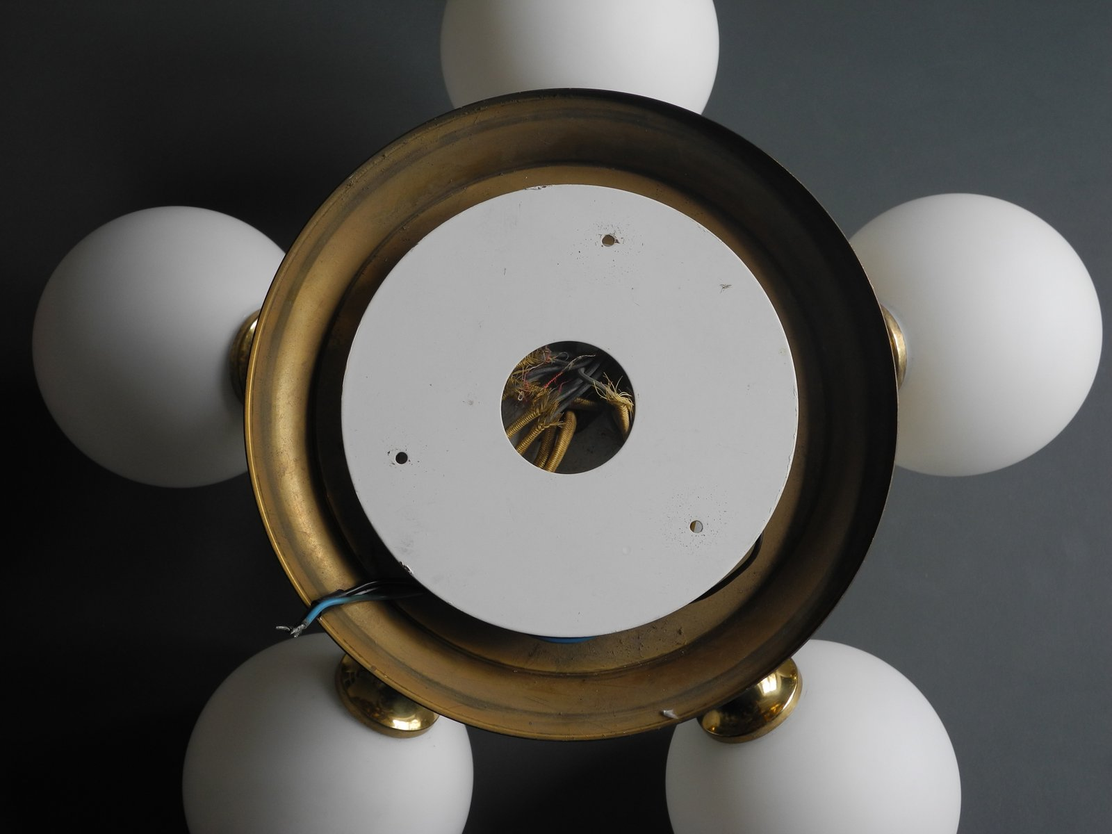 space age brass ceiling lamp with 6 opal glass globes from kaiser 1960s for sale at pamono. Black Bedroom Furniture Sets. Home Design Ideas