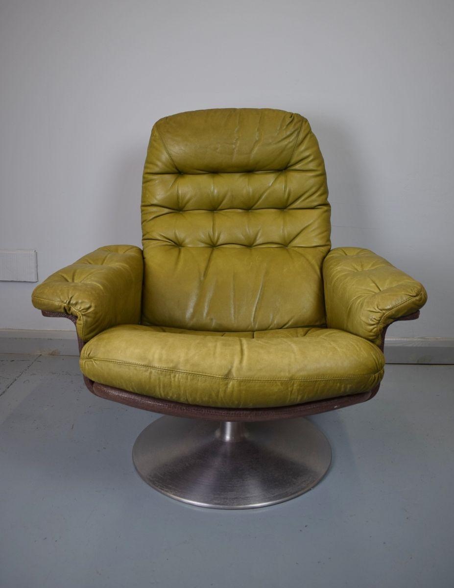 schwedischer gr ner leder drehsessel von dux 1970er bei. Black Bedroom Furniture Sets. Home Design Ideas