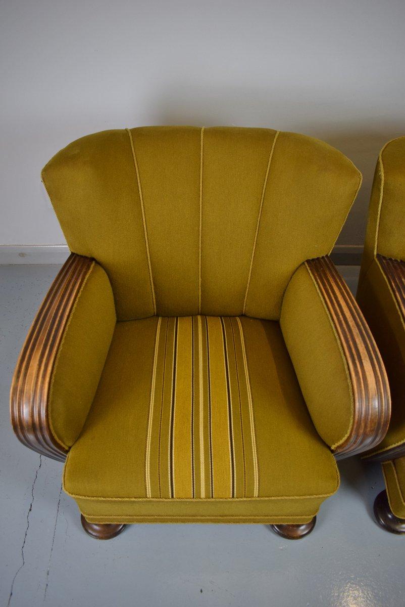 fauteuil club art d co en ch ne laine france 1930s en vente sur pamono. Black Bedroom Furniture Sets. Home Design Ideas