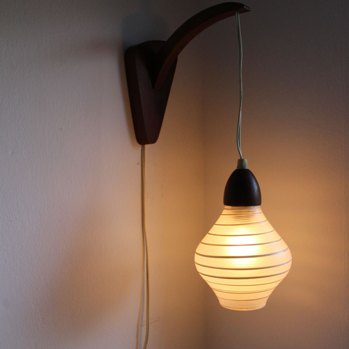 Vintage Teak Wooden Wall Lamp with Glass Shade from Philips, 1950s for sale at Pamono