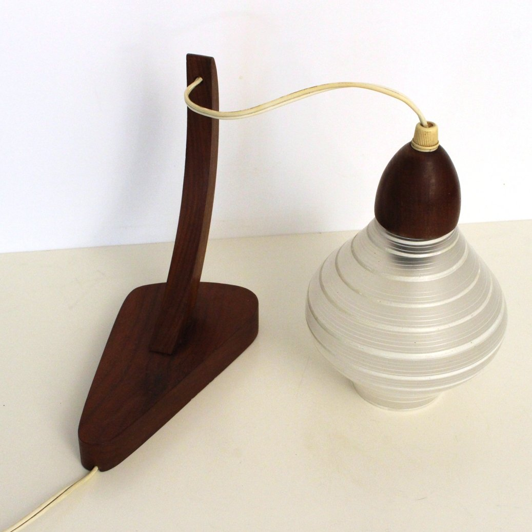 Antique Wood Wall Lamps : Vintage Teak Wooden Wall Lamp with Glass Shade from Philips, 1950s for sale at Pamono