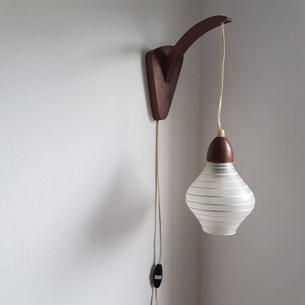 Vintage Wall Lamp Shades : Vintage Teak Wooden Wall Lamp with Glass Shade from Philips, 1950s for sale at Pamono