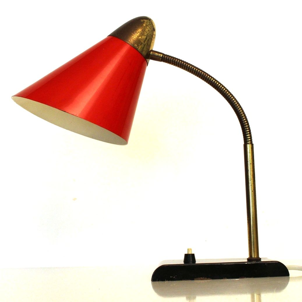 vintage brass black and red desk lamp 1950s - Red Lamp