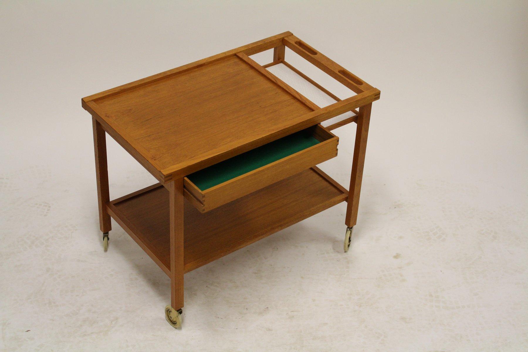 chariot de bar vintage en teck avec bo te et tag re en lamin de di m bler sweden en vente sur. Black Bedroom Furniture Sets. Home Design Ideas
