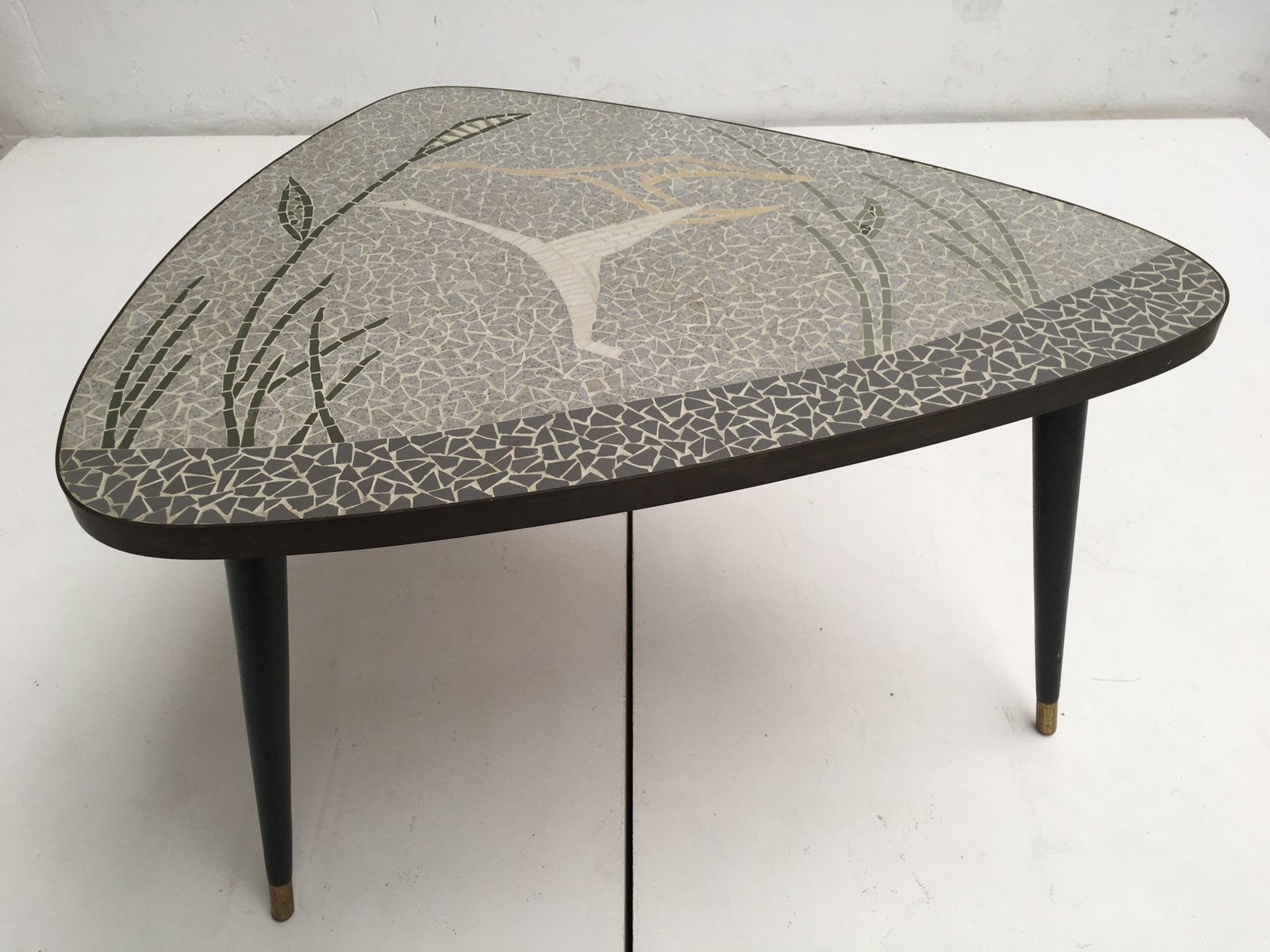 German Brass U0026 Mosaic Inlay Coffee Table Depicting A Flying Bird, 1950s
