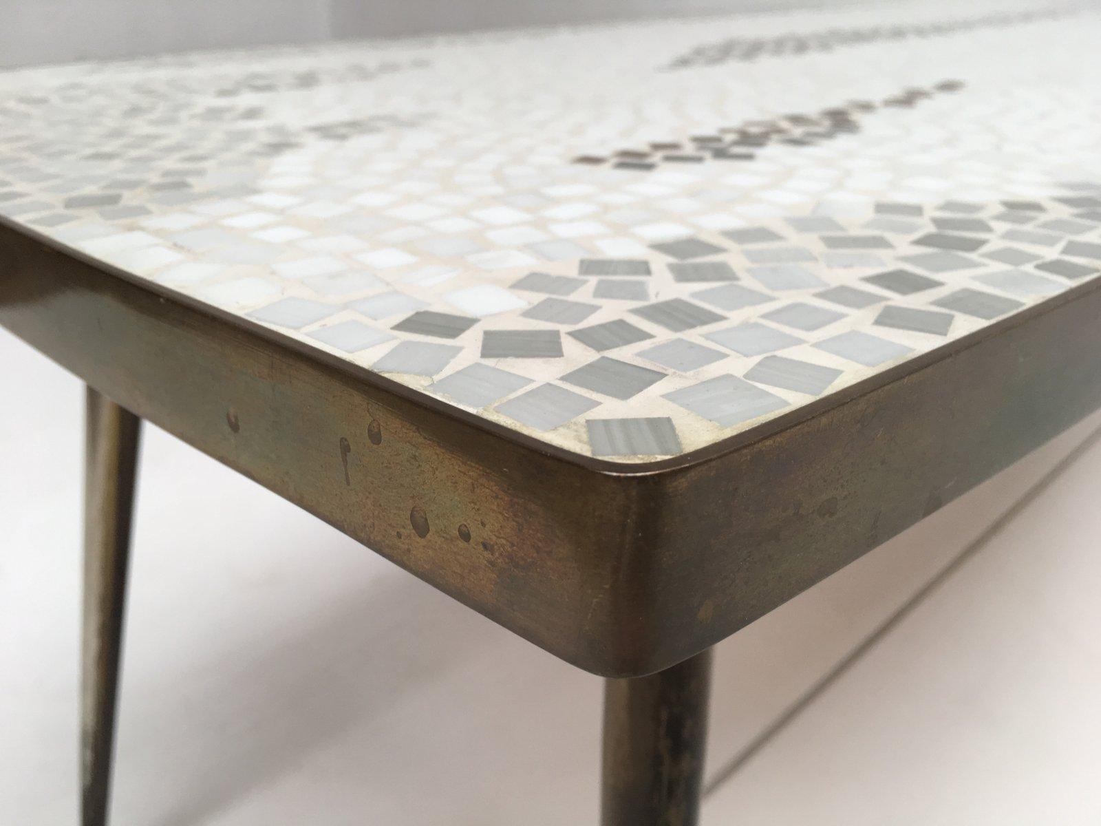 deutscher couchtisch aus messing mosaik 1950er bei pamono kaufen. Black Bedroom Furniture Sets. Home Design Ideas