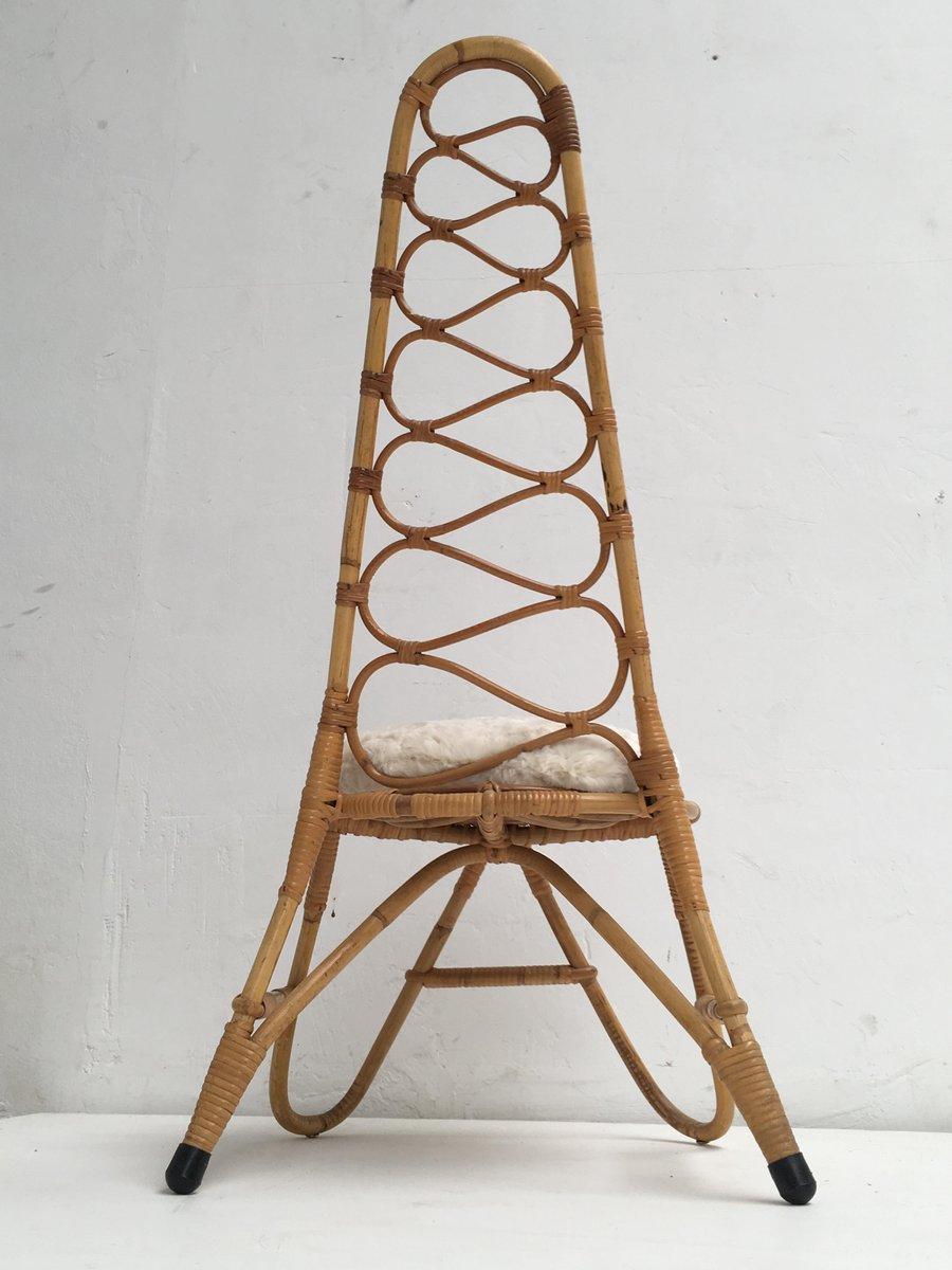 rattan hocker tisch stuhl mit kunstfell kissen von roh. Black Bedroom Furniture Sets. Home Design Ideas