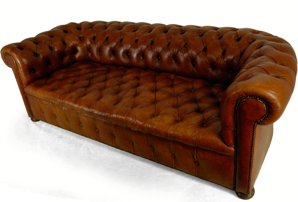 Vintage Tan Leather Chesterfield Sofa, 1960s for sale at Pamono