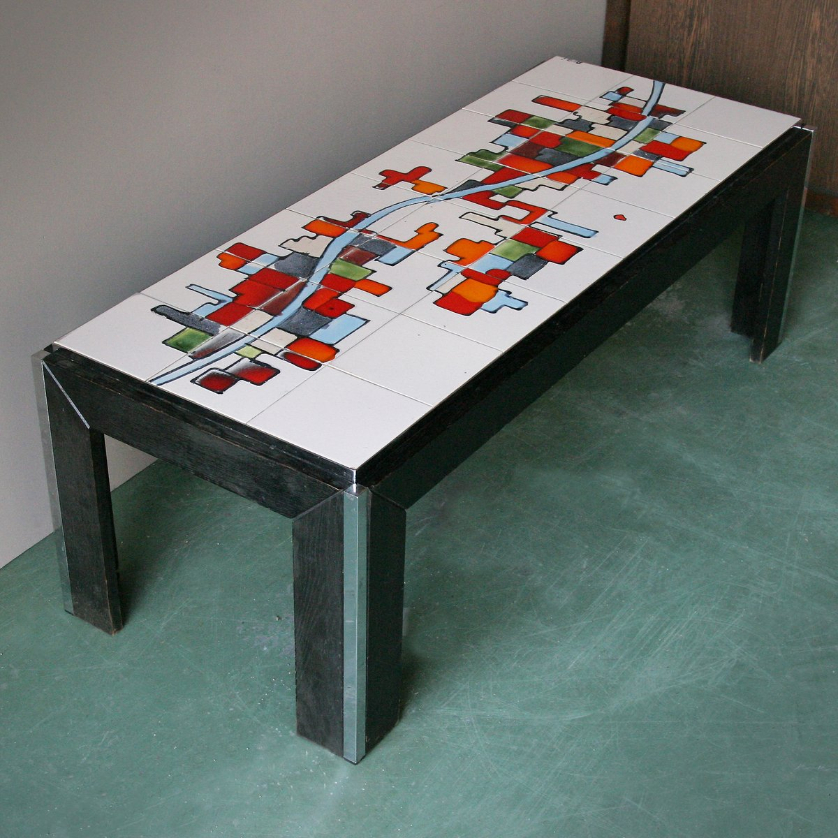 Ceramic tile top coffee table from adri belgique for sale at pamono ceramic tile top coffee table from adri belgique 8 60000 geotapseo Choice Image