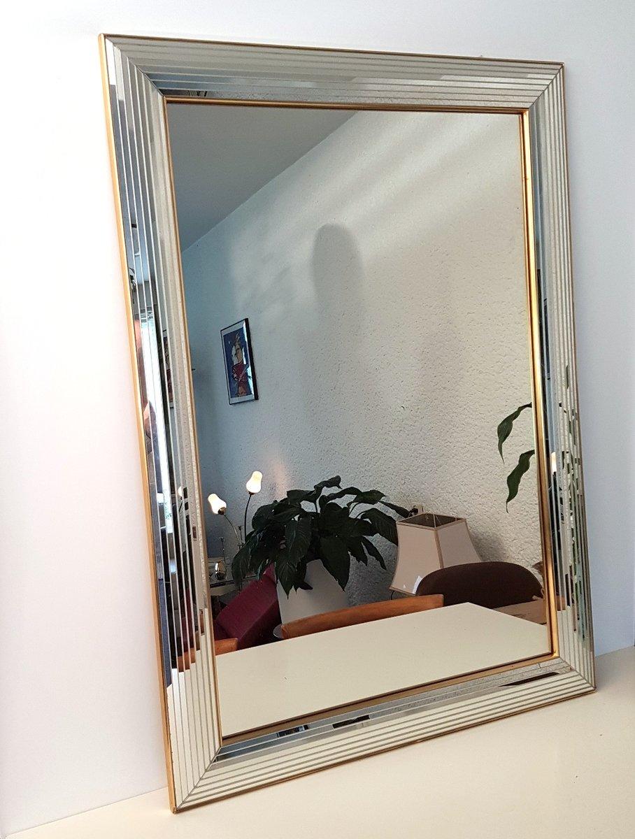 Gro er spiegel aus glas messing von deknudt 1980er bei for Spiegel glas