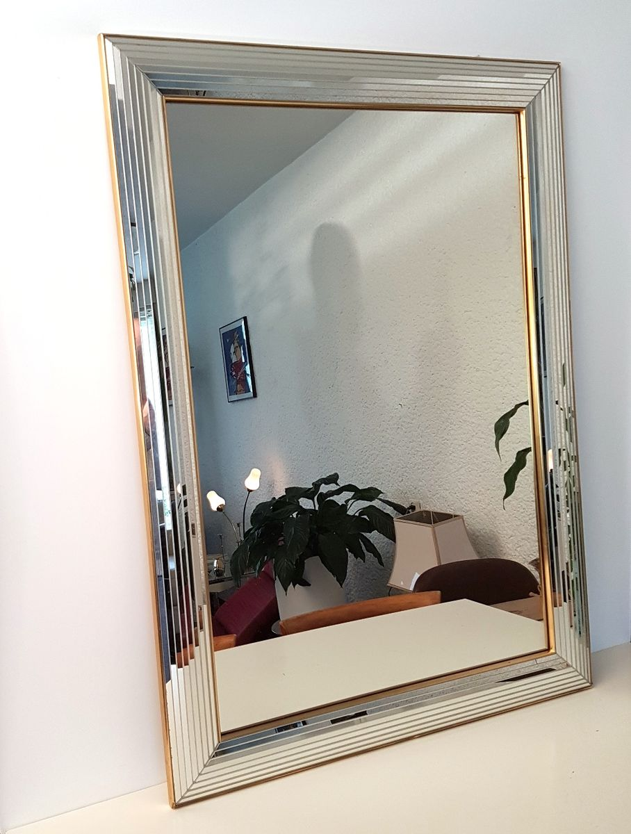 Large glass and brass mirror from deknudt 1980s for sale for Tall glass mirror