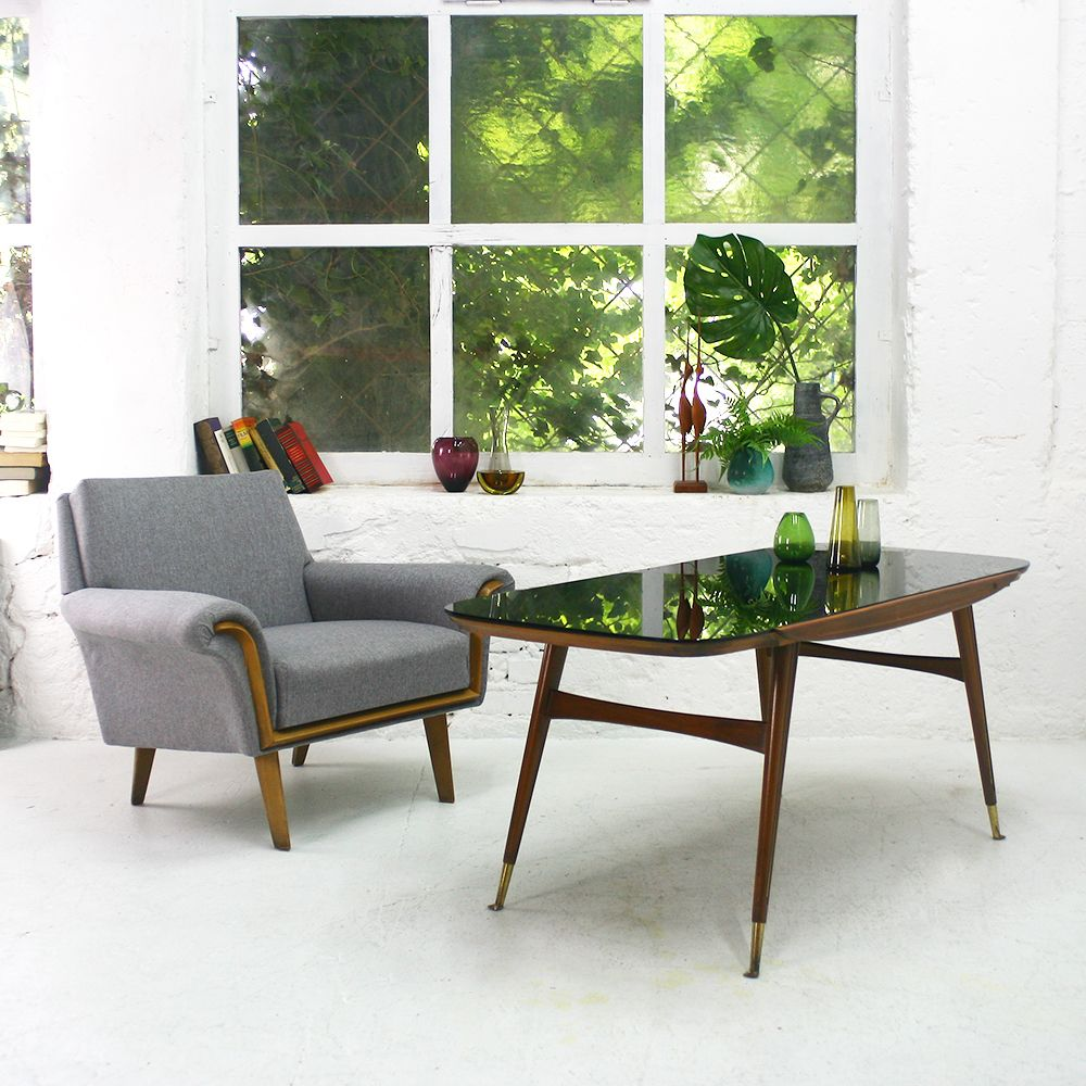 Black Glass Coffee Table Sale: Walnut Coffee Table With Black Glass Top From Ilse Möbel