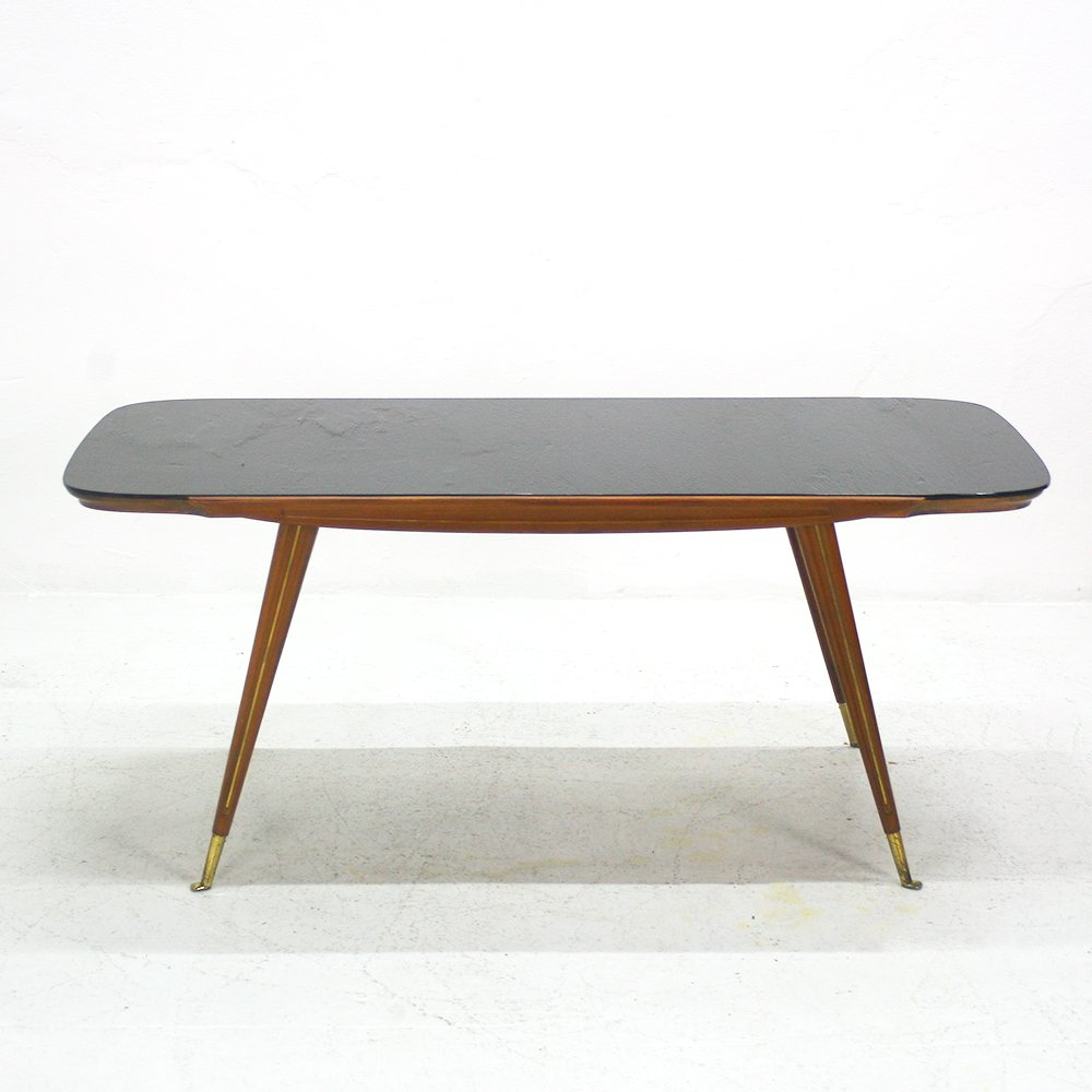 Walnut Coffee Table With Black Glass Top From Ilse M Bel For Sale At Pamono