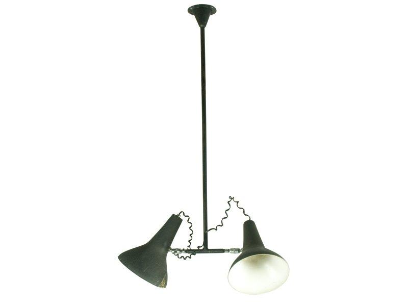 industrielle h ngelampe mit verstellbaren schirmen 1950er bei pamono. Black Bedroom Furniture Sets. Home Design Ideas