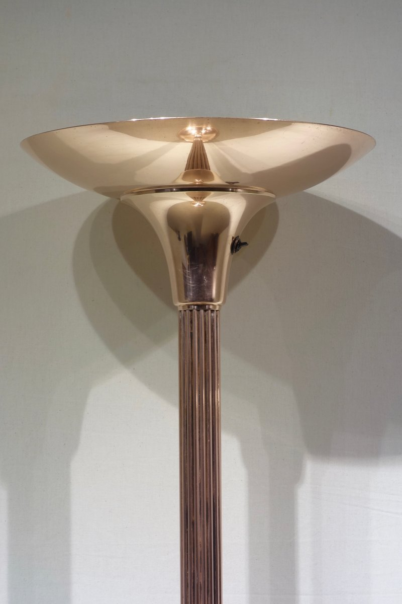 art d co copper floor lamp 1930s for sale at pamono. Black Bedroom Furniture Sets. Home Design Ideas
