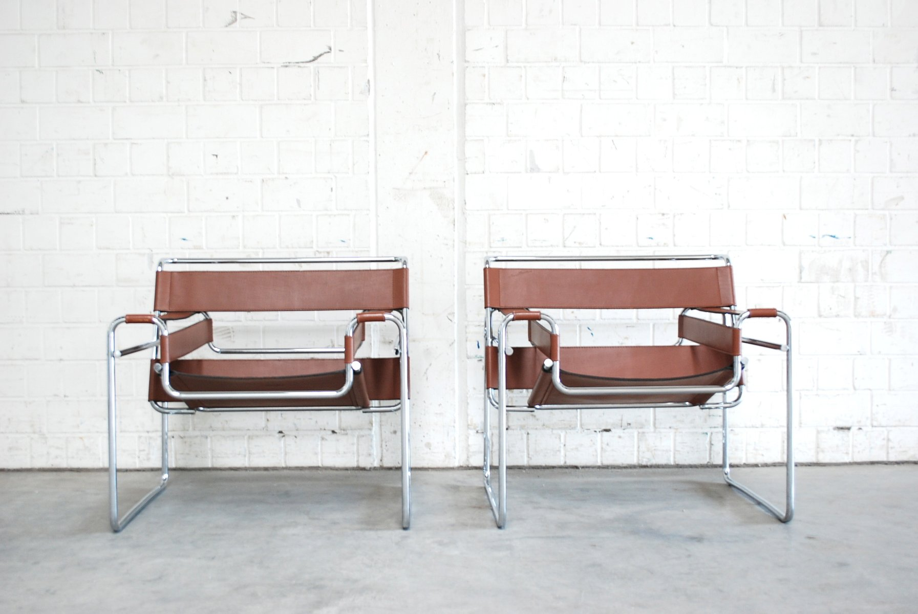 Vintage B3 Wassily Chairs by Marcel Breuer for Gavina Set of 2