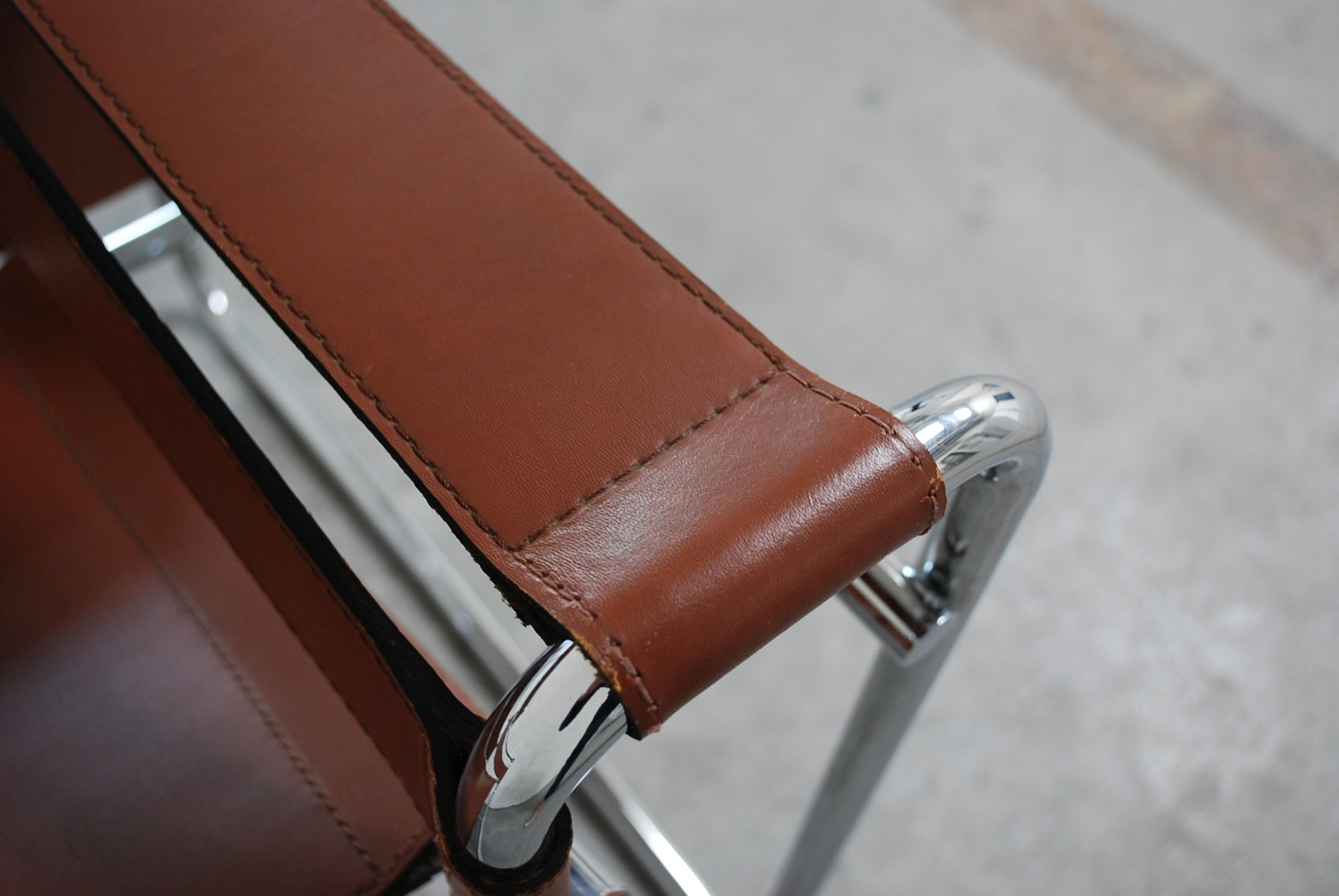 Vintage B3 Wassily Chair In Brandy Cognac Leather By Marcel Breuer For Gavina For Sale At Pamono