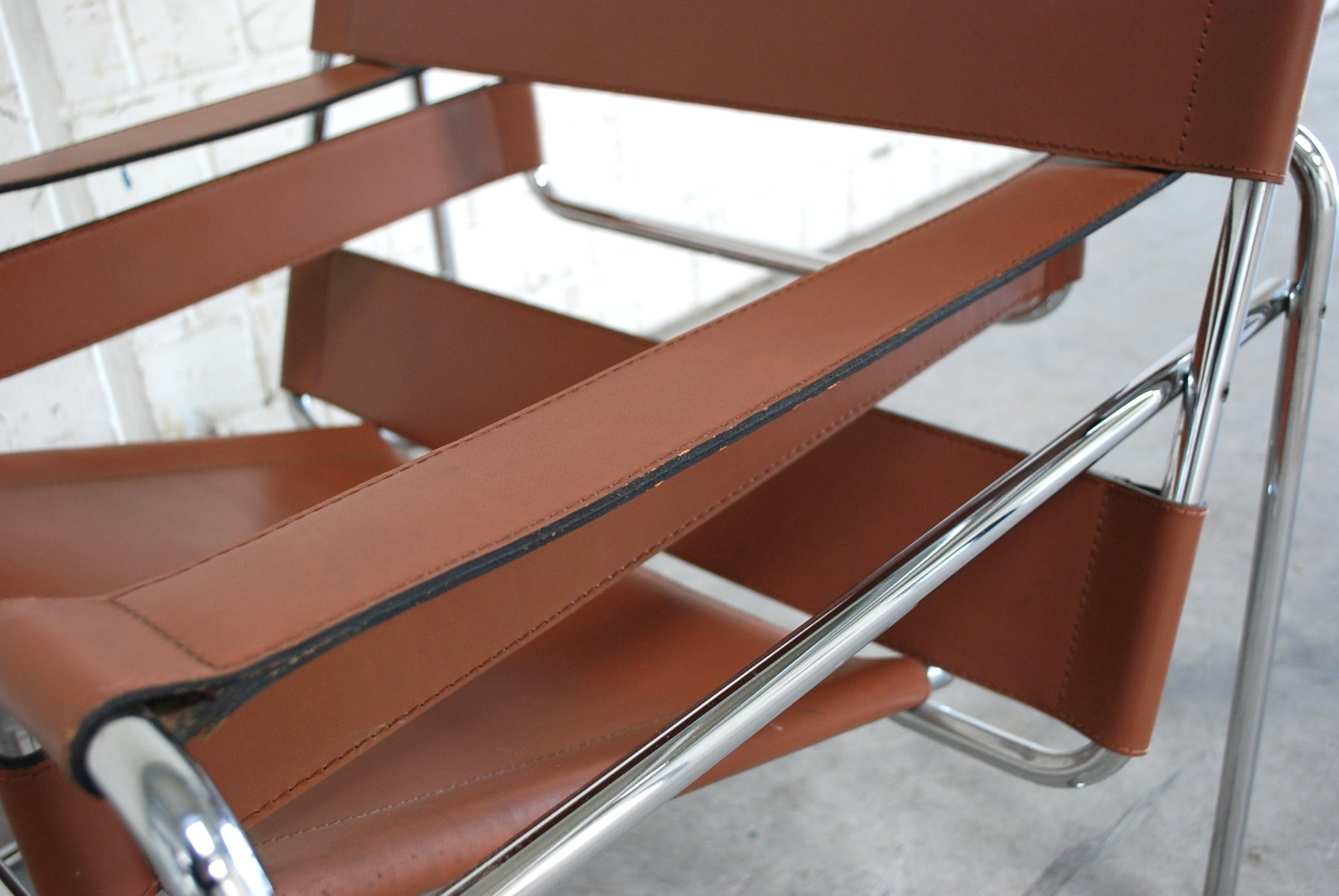 Wassily Chair vintage b3 wassily chair in cognac leather by marcel breuer