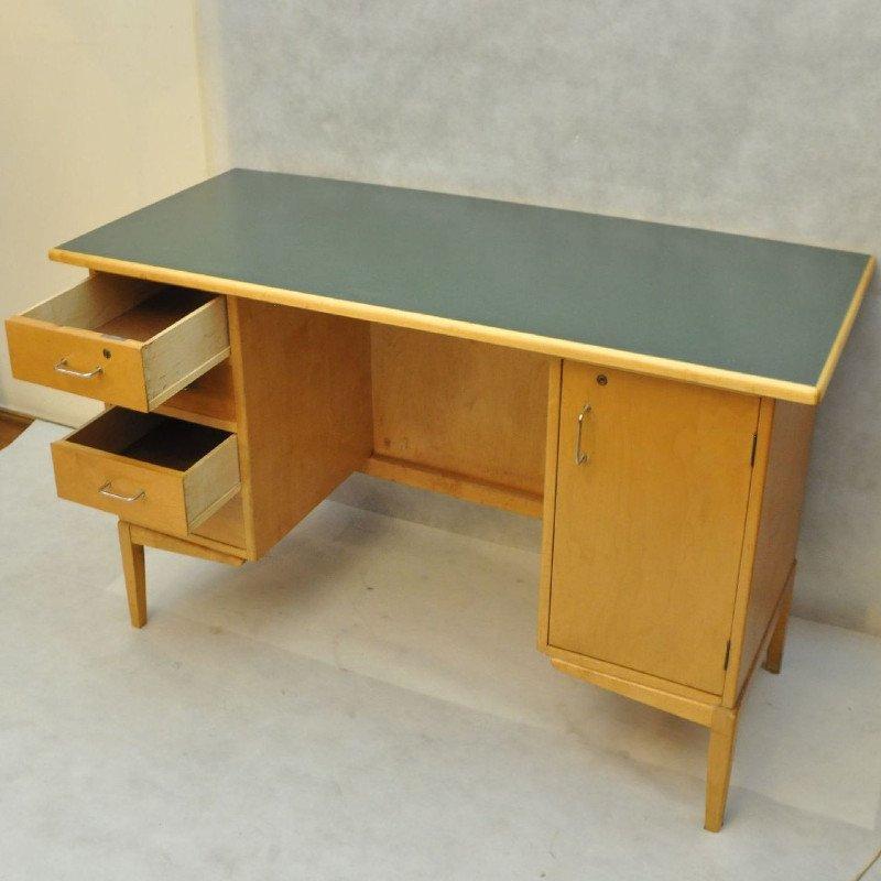 Vintage schreibtisch aus holz mit schubladen 1960er bei for Schreibtisch aus holz