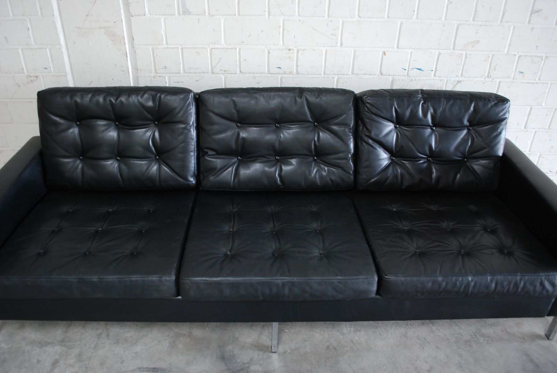 Vintage German Black Leather Sofa 1960s for sale at Pamono