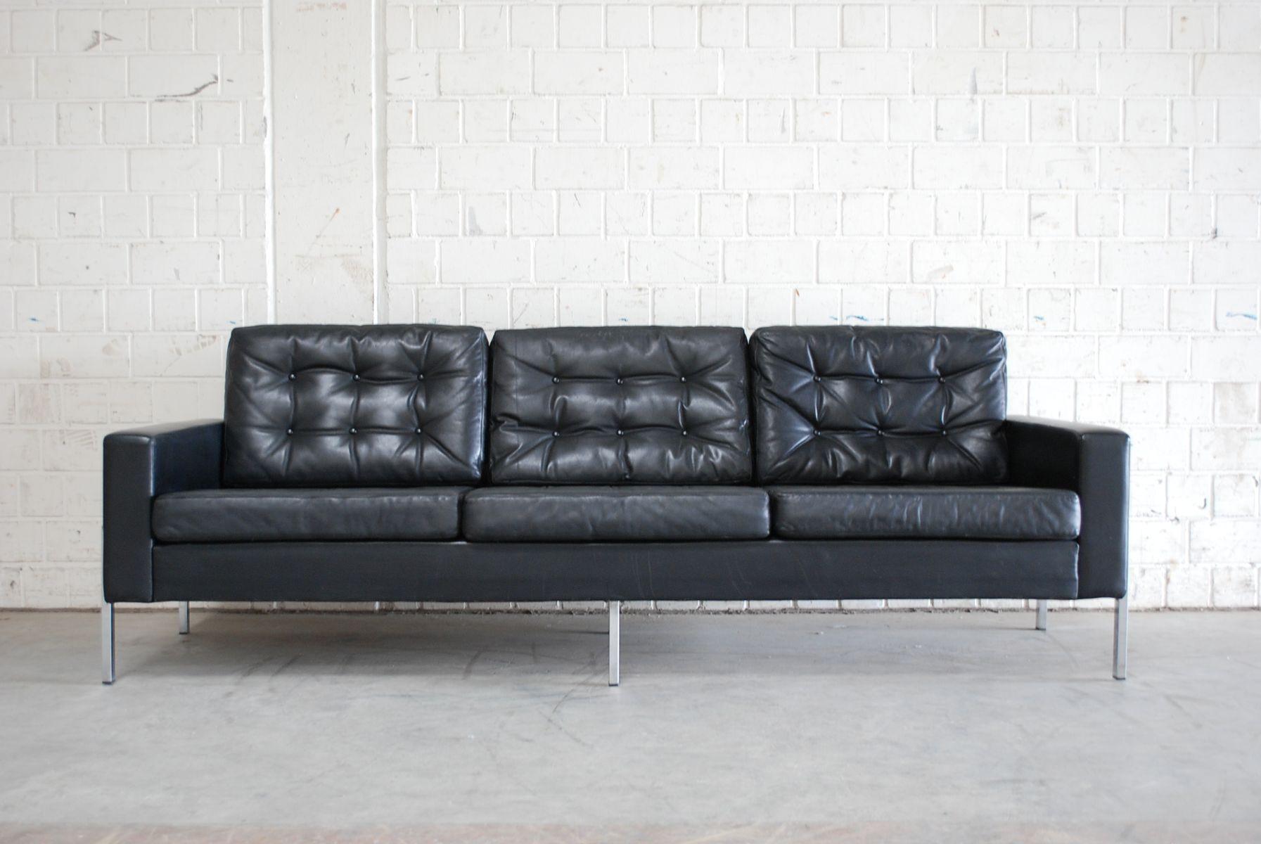 Vintage German Black Leather Sofa 1960s for sale at Pamono