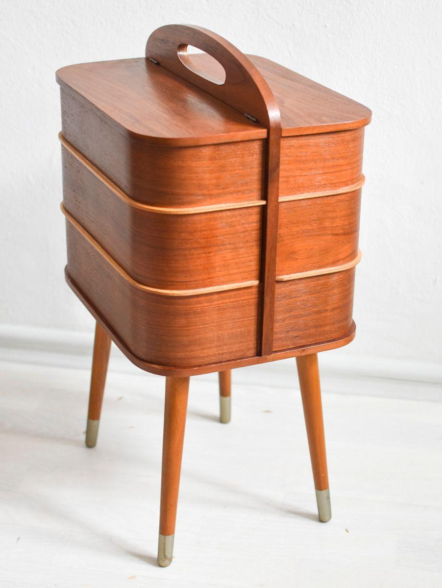 bo te de couture en teck 1960s en vente sur pamono. Black Bedroom Furniture Sets. Home Design Ideas