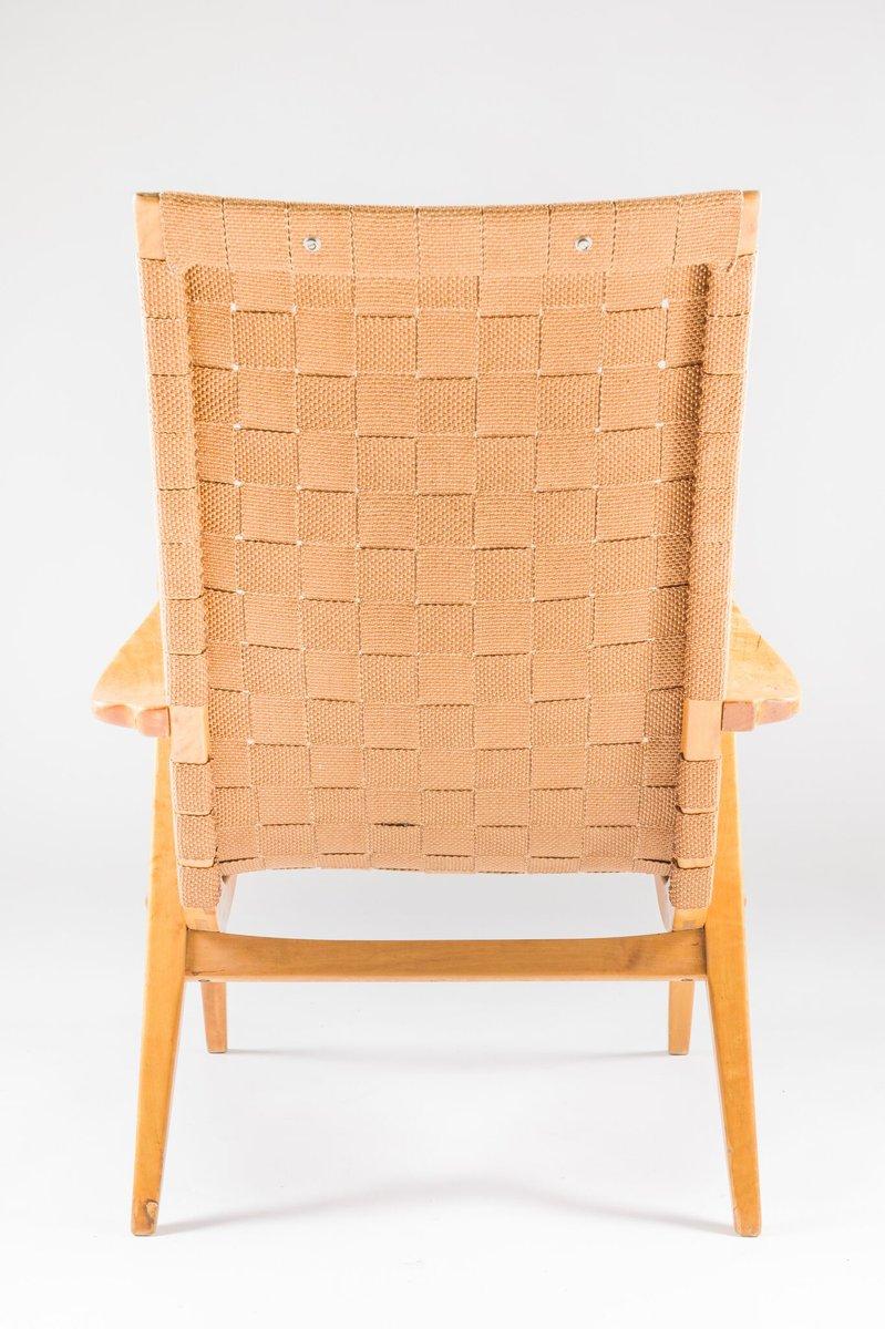 Mid Century Swedish Birch Armchair With Linen Webbing
