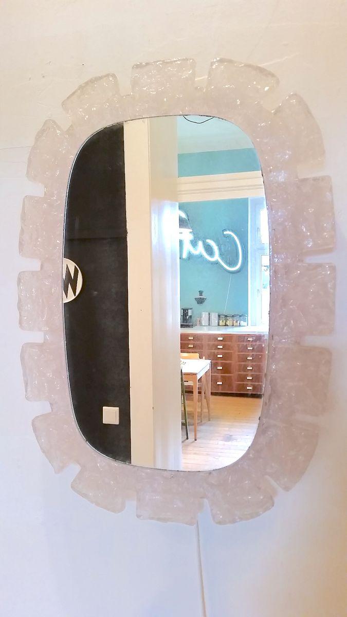Grand miroir mural vintage avec clairages par ernest igl for Grand miroir solde
