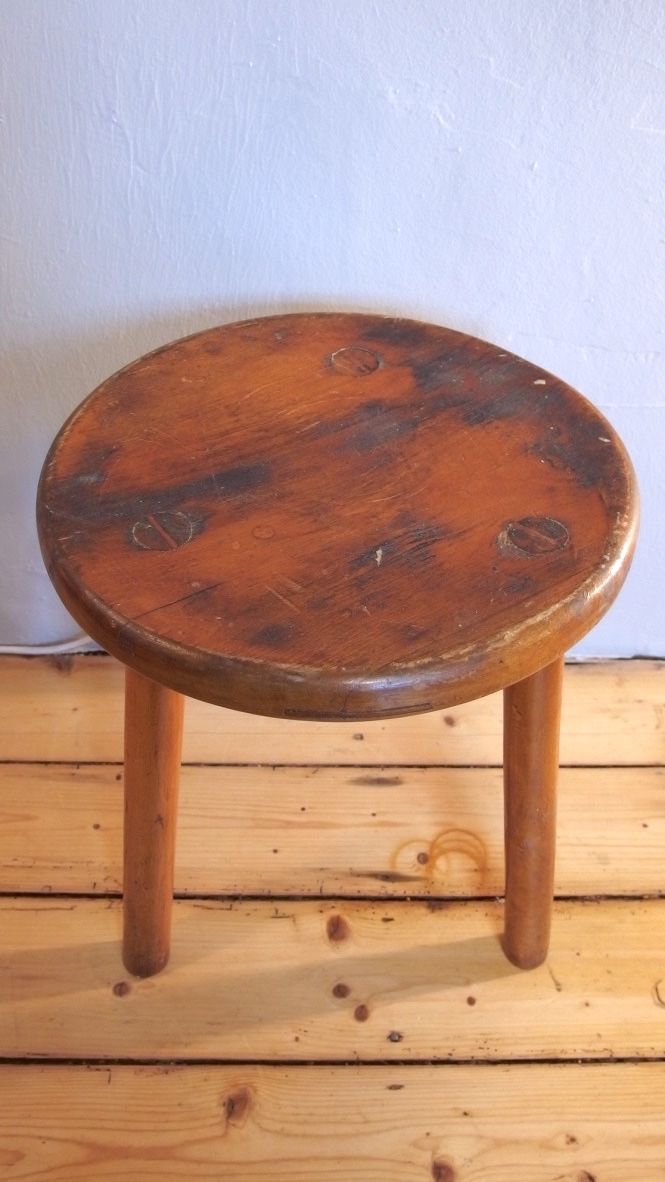 Vintage Wooden Milking Stool For Sale At Pamono