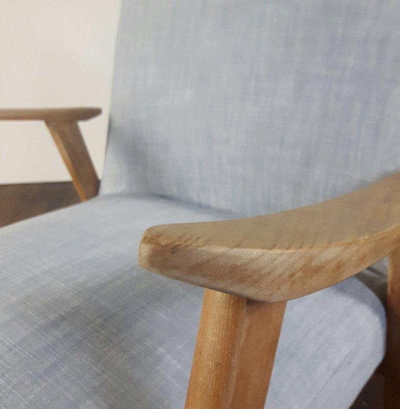 skandinavischer mid century sessel aus grauer baumwolle. Black Bedroom Furniture Sets. Home Design Ideas