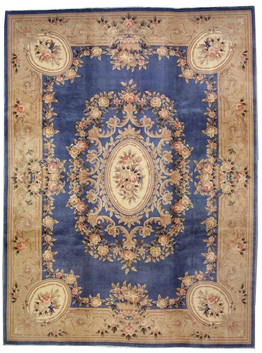 tapis chinois art d co fait la main en bleu 1930s en vente sur pamono. Black Bedroom Furniture Sets. Home Design Ideas