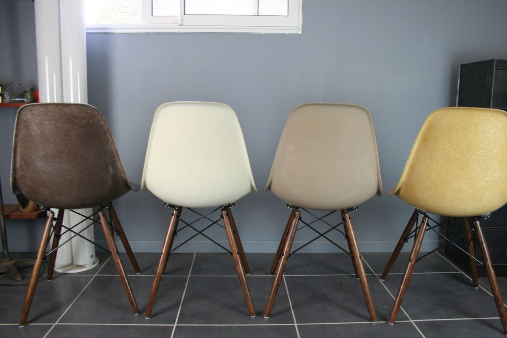 Vintage DSW Fiberglass Side Chairs by Charles & Ray Eames