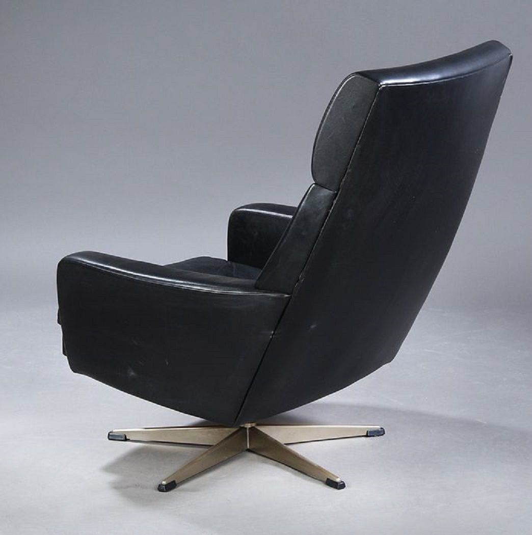 vintage danish black leather easy chair for sale at pamono