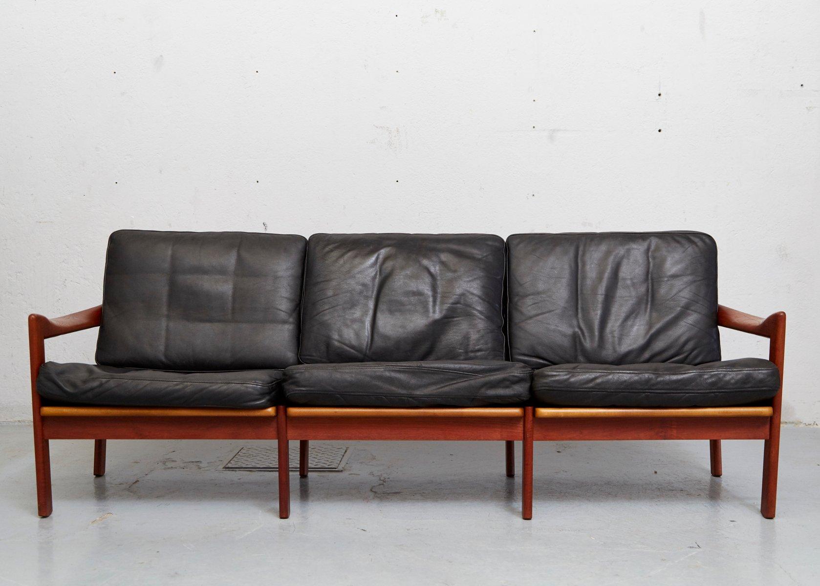 Mid Century Teak Leather Sofa By Illum Wikkelsø For Niels Eilersen