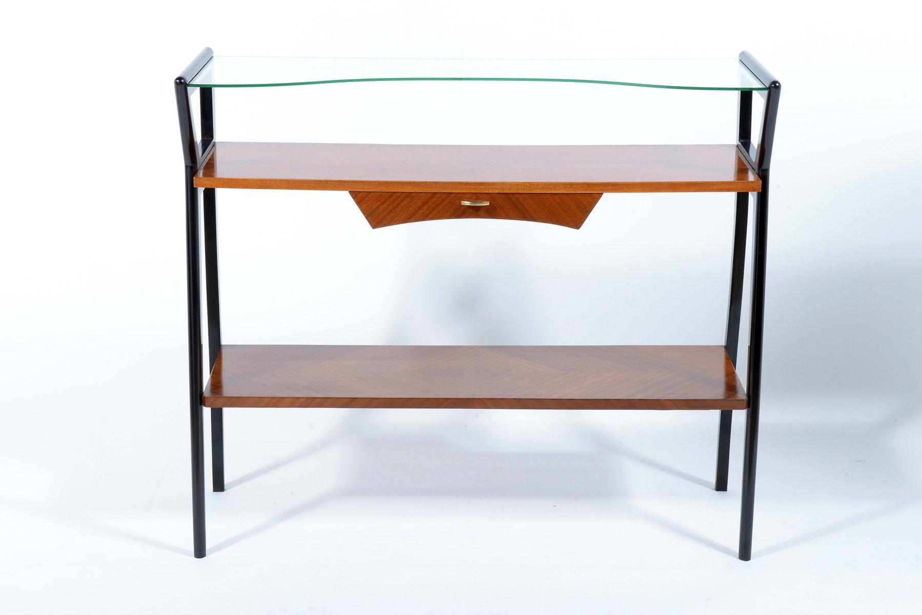 italienische konsole mit schublade glasplatte 1950er. Black Bedroom Furniture Sets. Home Design Ideas