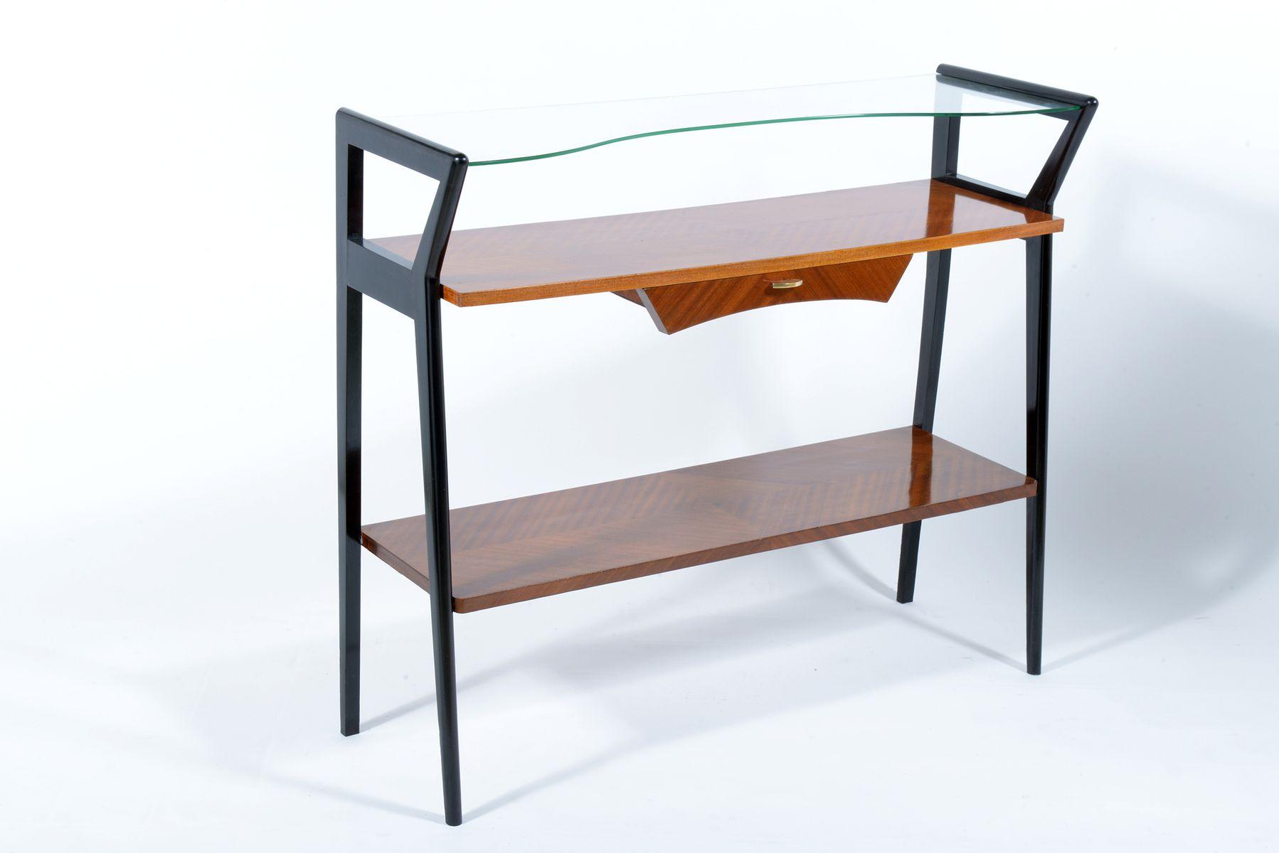 italienische konsole mit schublade glasplatte 1950er bei pamono kaufen. Black Bedroom Furniture Sets. Home Design Ideas
